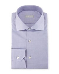 Stefano Ricci Micro Houndstooth Cotton Dress Shirt Purple White
