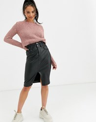 Bershka Pu Midi Skirt In Black