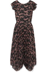 Markus Lupfer Sadie Pleated Floral Print Crepe De Chine And Chiffon Midi Dress Black