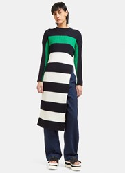 Stella Mccartney Ribbed Knit Striped Sweater Dress Navy