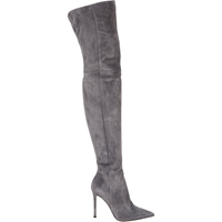 Gianvito Rossi Suede Cuissard Boots Gray