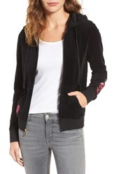 Juicy Couture Women's Roberts Embroidered Velour Hoodie Pitch Black