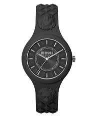 Versus By Versace Fire Island Silvertone Black Silicone Strap Watch