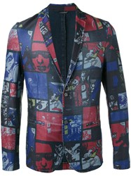 Daniele Alessandrini Comic Strip Jacket Men Cotton Polyester Spandex Elastane 50 Blue