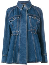 Ellery Oversized Flared Denim Jacket Blue