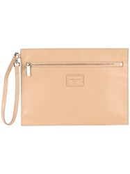 Giorgio Armani Vintage Envelope Clutch Nude And Neutrals