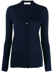 Pringle Of Scotland V Neck Cardigan Blue