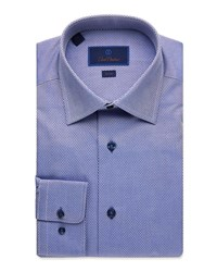 David Donahue Trim Fit Tonal Box Dress Shirt Blue