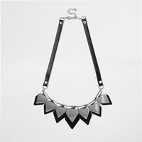 River Island Womens Silver Tone Spike Statement Necklace