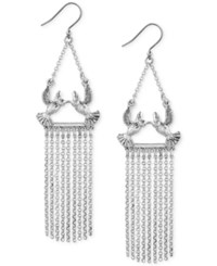 Lucky Brand Silver Tone Bird Fringe Drop Earrings