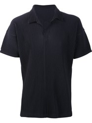 Homme Plisse Issey Miyake Pleated Polo Shirt Blue