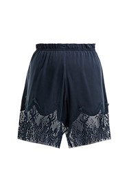 Icons Waterlily Silk Shorts Navy