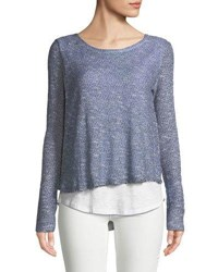 Chelsea And Theodore Open Knit Twofer Sweater Blue White