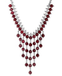 Lucky Brand Silver Tone Red Stone Bib Necklace