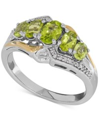Macy's Peridot 1 3 8 Ct. T.W. And Diamond Accent Ring In Sterling Silver And 14K Gold Two Tone