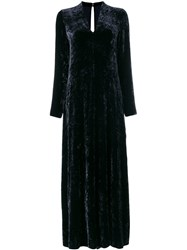 Forte Forte Velvet Flared Long Dress Women Silk Viscose 0 Blue