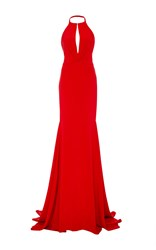 Cristina Ottaviano Plunging Keyhole Halter Gown Red
