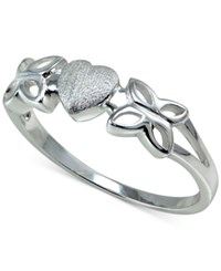 Giani Bernini Heart And Butterfly Ring In Sterling Silver Only At Macy's
