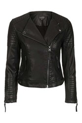 Topshop Quilted Faux Leather Biker Black