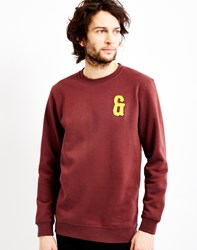 Only And Sons Applique Crew Neck Red