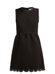 Redvalentino Scalloped Hem Cady Mini Dress Black