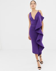 Lavish Alice Scuba V Midi Dress With Sculpted Frill Detail In Purple