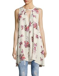 Free People Snap Out Of It Printed Swing Top Cream