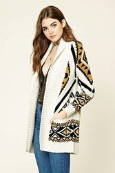 Forever 21 Tribal Print Longline Cardigan Cream Black