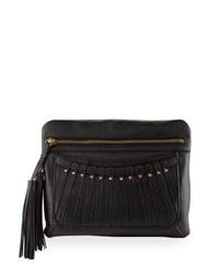 Cynthia Vincent Bitten Leather Tassel Clutch Bag Black