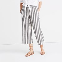 Madewell Huston Pull On Crop Pants In Stripe Omote Stripe Bright Ivor