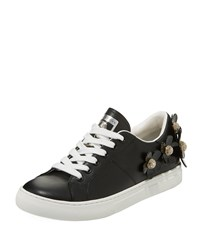 Marc Jacobs Daisy Crystal Flower Leather Platform Sneakers Black
