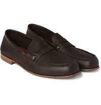 J.M. Weston 281 Le Moc Grained Leather Loafers Brown