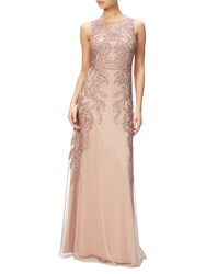 Adrianna Papell Beaded Gown With Intricate Embroidery Rose Gold