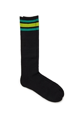 Forever 21 Striped Crew Socks Black Green