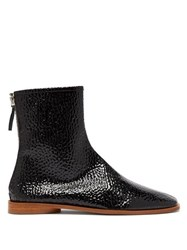 Acne Studios Berta Square Toe Grained Patent Leather Boots Black