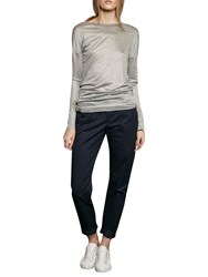 French Connection Miro Mercerised Jersey Top Mid Grey Melange