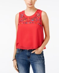 American Rag Sequined Embroidered Cropped Tank Top Only At Macy's Red Multi