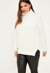 Missguided Plus Size White Chunky Lace Up Jumper Ivory