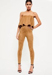 Missguided Brown Faux Suede Frill Layered Bandeau Jumpsuit