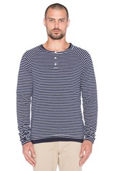 Scotch And Soda Longsleeve Grandad With Inner Tee Navy