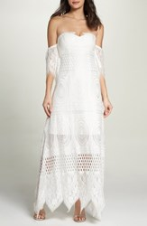 Foxiedox Women's Lace Off The Shoulder Maxi Dress Ivory