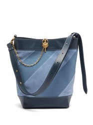 J.W.Anderson Jw Anderson Keyts Striped Leather And Suede Tote Blue Multi