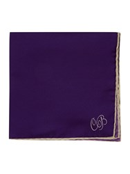 Chester Barrie Silk String Border Square Handkerchiefs Purple