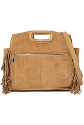 Maje Woman M Fringed Suede Tote Light Brown
