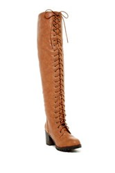 Nature Breeze Illusion 01 Lace Up Over The Knee Boot Brown