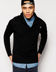 G Star Shawl Collar Jumper Sharshaw Oxford Knit Black