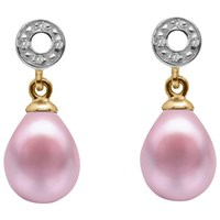 A B Davis 9Ct Gold Freshwater Pearl And Diamond Circle Drop Earrings Pink