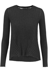 Enza Costa Ribbed Cotton And Cashmere Blend Sweater Anthracite