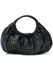 Giorgio Armani Vintage Logo Charm Shoulder Bag Black