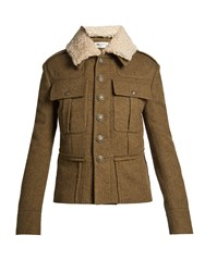 Saint Laurent Shearling Collar Gabardine Parka Khaki